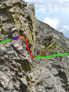 West approach traverse w crux downclimb in red.  Green=3rd class, blue=step around blind corner, orange=belay platform, yellow dot=old pin.