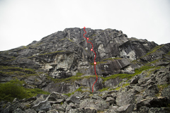 Rock Climbing Photo: Beta photo showing the path of Cantankerous Cranks...