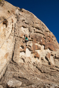 Rock Climbing Photo: Swiss Cheese. Sierra is nearing the first bolt. Th...