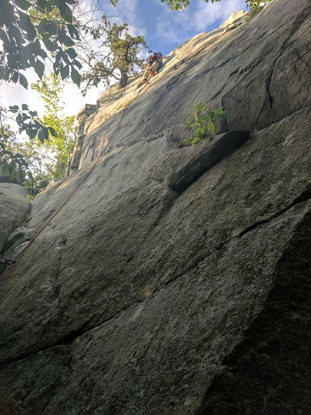 Another enjoyable lead on amazing rock.  One of the best routes at its grade in MA and a great view at the top.