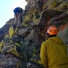 Greg Hansen belaying me as I lead exposed the headwall that moves left into the gully.<br> <br> Photo credit: Justin Ibarra.