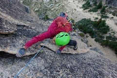 Rock Climbing Photo: Top of the Zig Zag Flakes pitch on NW Corner.