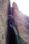 Rock Climbing Photo: A tipped out #5 placement on the committing 5.8 la...
