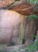 Rock Climbing Photo: The route from ground up, finger flake at center.