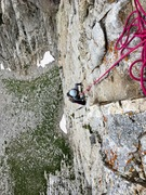 Rock Climbing Photo: Looking down the thumb before the crux pitch