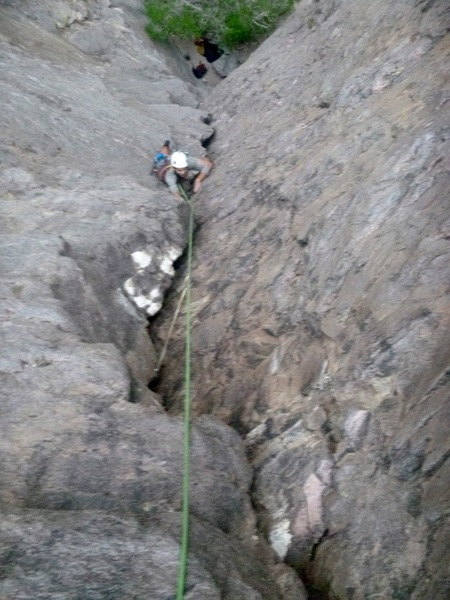 Rock Climbing Photo: Ray on his way up Bag of Bones on a fine summer ev...