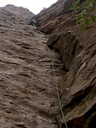 Rock Climbing Photo: Looking up the Bag of Bones dihedral from the base...