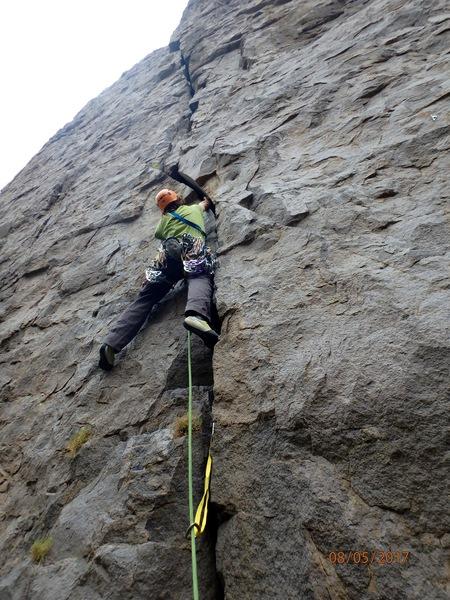 Rock Climbing Photo: Starting up Butterknife. Can also begin below plat...