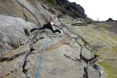 Rock Climbing Photo: Cindy leading Pitch 3 (crux pitch).