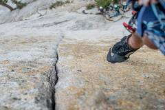 Rock Climbing Photo: Standing atop the crack, size 42.5 shoe for refere...