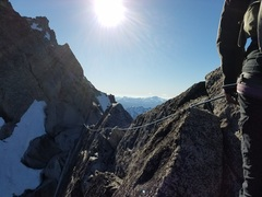 Rock Climbing Photo: Traverse pitch leading to Gendarme pitches.