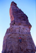 Rock Climbing Photo: Snagging the bucket at the end of the crux on the ...