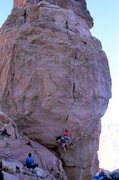 Rock Climbing Photo: Opening moves on the steep crack, gunning for the ...