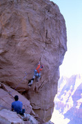 Rock Climbing Photo: Snagging the hand pocket (a solid jam).