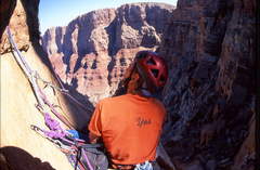 Rock Climbing Photo: Two-bolt belay (with backup) for the second pitch.