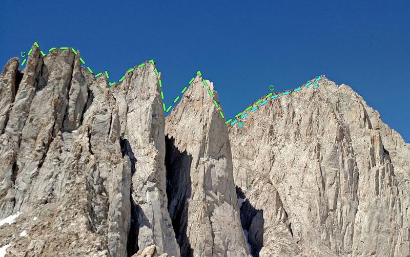 Third Needle + Crooks Peak + Keeler Needle seen from east from Pinnacle ridge:<br> C. Happy Cowboy<br> D. Whitney - SouthWest Edge