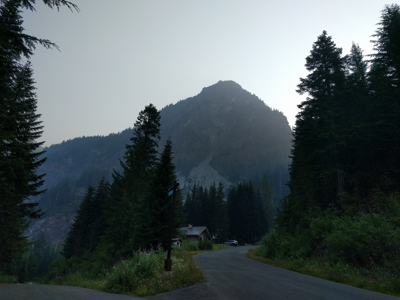 View of the approach (talus field), and the south west face of the Guye peak. (it was a smoky day because of all the wildfires in BC, Canada and WA in August 2017)