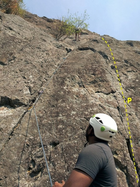 The rope is on Crack'n the code route. But the topo line shows LGK. Fixed pin at the start. There is also one or two bolts on the route after the crack ends. Then 2 ledges with vertical section. Easy slab at the end that finishes at the same bolted anchor as that of Zig Zag.