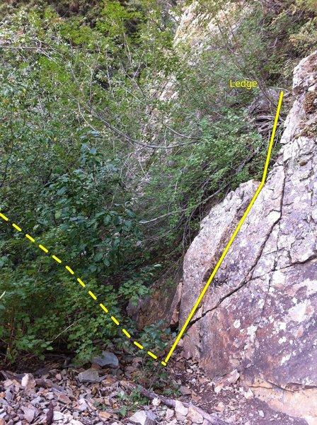 Switchback scramble to the initial belay ledge
