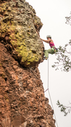 Rock Climbing Photo: Above the small roof at the top of the route. Augu...