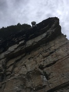 Rock Climbing Photo: Setting up the anchor on my first 11c! (: