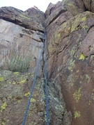 Rock Climbing Photo: The crack section as seen from the large ledge aft...