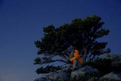 West Baldy summit at night.