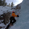 My first time ice climbing (top roped). In RMNP January 2017.