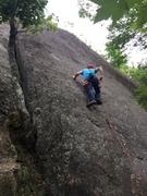 "Rock Climbing Photo: RW leads up the ""Green Valley"" (S Matz p..."