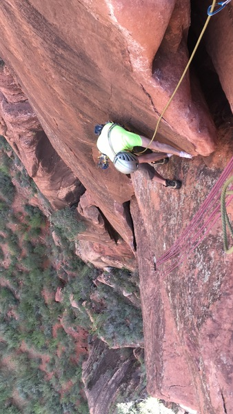 Cha on the awesome off width layback on pitch 3