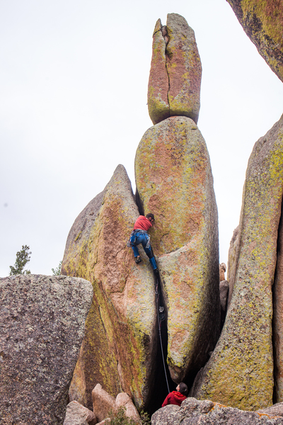 """The Shocker"" with a climber for scale."