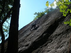 "Rock Climbing Photo: Josh near top of ""Bolt Too Far"""