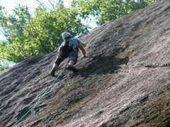 "Rock Climbing Photo: Josh topping out on ""Bolt Too Far"""