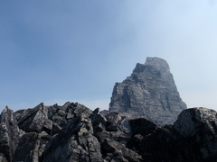 Summit block as viewed from before the technical climbing starts.