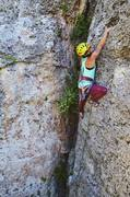 Rock Climbing Photo: sara pulls a kobe move on a mellow 5.8 to begin z ...
