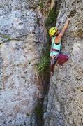 Rock Climbing Photo: sara pulls a kobe move on a mellow 5.8 to begin z ...