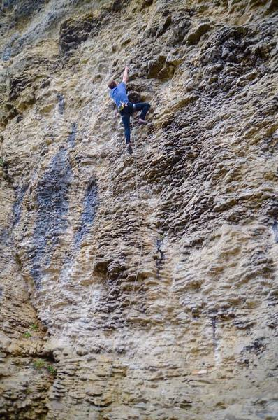 Jacob basically walking up a route on Bo Peep Slab