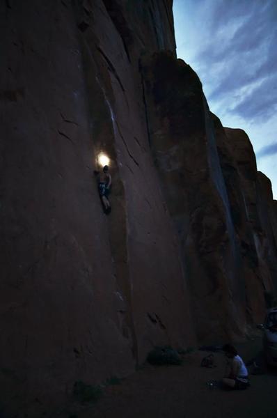 drew climbing in the dark