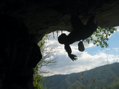 Rock Climbing Photo: Jason Sauco chilling on Climber in a Hole
