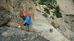 Rock Climbing Photo: Loren Foss and Tom Michael on pitch one, or two if...