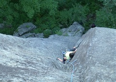 Rock Climbing Photo: Nancy in the dihedral