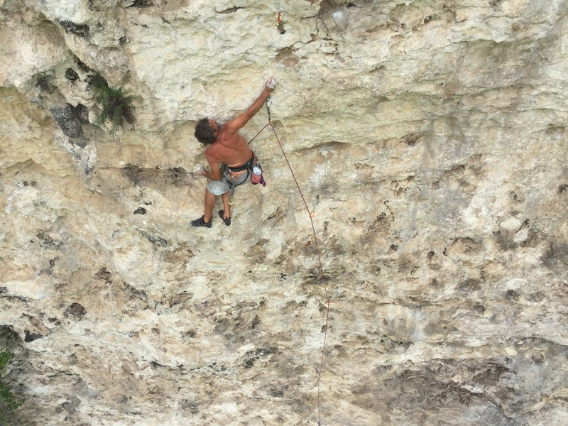 "Eli in the early crux of ""La Avispa"" on the redpoint."