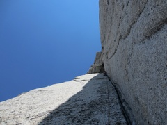 Rock Climbing Photo: Looking up at the corner splitter and roof travers...