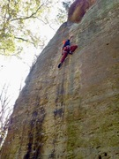 Rock Climbing Photo: Pulling through the crux section of Hidden Treasur...