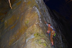 Caysha wanting to finish up a with a few last pitches in the dark at the end of a perfect day of fall climbing