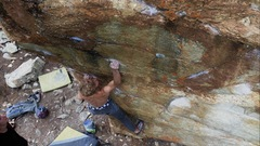 Rock Climbing Photo: Tristan crimping hard on the kings boulder