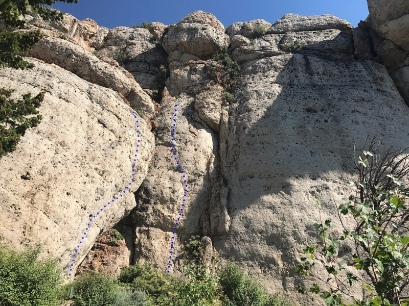 A couple new routes to the left of Cowboy King wall. The left line is Hell or High Stepp'n, 11d, the right line is Team Effort, 10d.