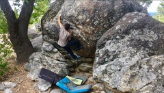 "Rock Climbing Photo: Jason Kevin sending ""Cat Scratch Fever"" ..."
