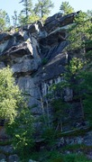Rock Climbing Photo: The full route from the lake with Alex nearing the...