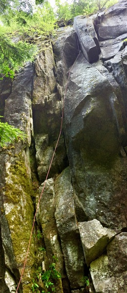 Looking up at Chimney Sweep. My rope marks the route
